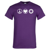Purple T Shirt-Peace Love Ambit