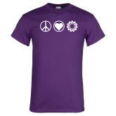 Purple T Shirt-Peace Love Ambit