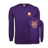 Purple Long Sleeve T Shirt-Spark w/ Team 526 URL