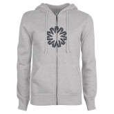 ENZA Ladies Grey Fleece Full Zip Hoodie-Spark Graphite Soft Glitter