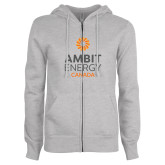 ENZA Ladies Grey Fleece Full Zip Hoodie-Ambit Energy Canada