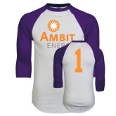White/Purple Raglan Baseball T Shirt-