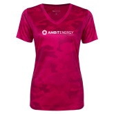 Ladies Pink Raspberry Camohex Performance Tee-Ambit Energy