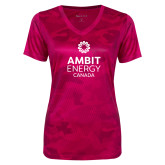 Ladies Pink Raspberry Camohex Performance Tee-Ambit Energy Canada