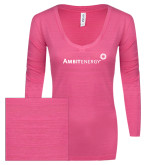 ENZA Ladies Hot Pink Long Sleeve V Neck Tee-