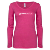 ENZA Ladies Hot Pink Long Sleeve V Neck Tee-Ambit Energy