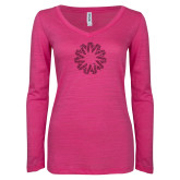 ENZA Ladies Hot Pink Long Sleeve V Neck Tee-Spark Hot Pink Glitter
