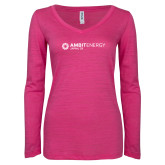 ENZA Ladies Hot Pink Long Sleeve V Neck Tee-Ambit Energy Japan
