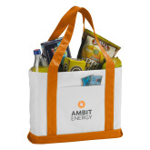 Contender White/Orange Canvas Tote-Ambit Energy