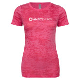 Next Level Ladies Junior Fit Fuchsia Burnout Tee-Ambit Energy