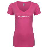 Next Level Ladies Junior Fit Deep V Pink Tee-Ambit Energy
