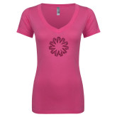 Next Level Ladies Junior Fit Deep V Pink Tee-Spark Hot Pink Glitter