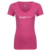 Next Level Ladies Junior Fit Deep V Pink Tee-Ambit Energy Japan