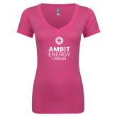 Next Level Ladies Junior Fit Ideal V Pink Tee-Ambit Energy Canada