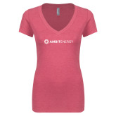 Next Level Ladies Vintage Pink Tri Blend V Neck Tee-Ambit Energy