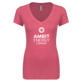 Next Level Ladies Vintage Pink Tri Blend V Neck Tee-Ambit Energy Canada