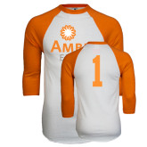 White/Orange Raglan Baseball T Shirt-