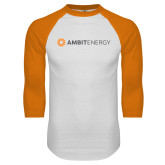 White/Orange Raglan Baseball T Shirt-Ambit Energy