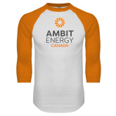 White/Orange Raglan Baseball T Shirt-Ambit Energy Canada
