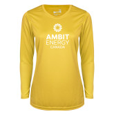 Ladies Syntrel Performance Gold Longsleeve Shirt-Ambit Energy Canada