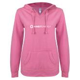 ENZA Ladies Hot Pink V Notch Raw Edge Fleece Hoodie-Ambit Energy