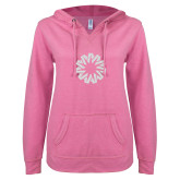 ENZA Ladies Hot Pink V Notch Raw Edge Fleece Hoodie-Spark White Soft Glitter