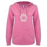 ENZA Ladies Hot Pink V Notch Raw Edge Fleece Hoodie-Spark White Soft Glitter
