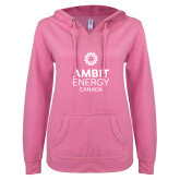 ENZA Ladies Hot Pink V Notch Raw Edge Fleece Hoodie-Ambit Energy Canada