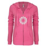 ENZA Ladies Hot Pink Light Weight Fleece Full Zip Hoodie-Spark White Soft Glitter