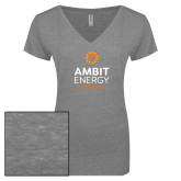 ENZA Ladies Graphite Melange V Neck Tee-Ambit Energy Canada