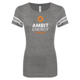 ENZA Ladies Dark Heather/White Vintage Football Tee-Ambit Energy Canada