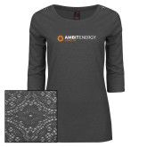Ladies Charcoal Heather Lace 3/4 Sleeve Tee-Ambit Energy Japan