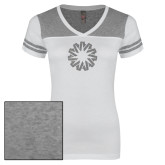 Ladies White/Heathered Grey Juniors Varsity V Neck Tee-Spark Silver Soft Glitter