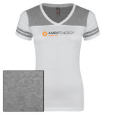 Ladies White/Heathered Grey Juniors Varsity V Neck Tee-Ambit Energy Japan