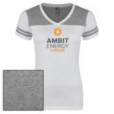Ladies White/Heathered Grey Juniors Varsity V Neck Tee-Ambit Energy Canada
