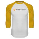 White/Gold Raglan Baseball T Shirt-Ambit Energy