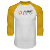 White/Gold Raglan Baseball T Shirt-Ambit Energy