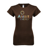 Next Level Ladies SoftStyle Junior Fitted Dark Chocolate Tee-Foil