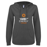 ENZA Ladies Dark Heather V Notch Raw Edge Fleece Hoodie-Ambit Energy Canada