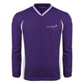 Colorblock V Neck Purple/White Raglan Windshirt-