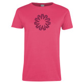 Ladies Fuchsia T Shirt-Spark Hot Pink Glitter