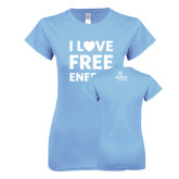 Ladies SoftStyle Junior Fitted Light Blue Tee-I Love Free Energy