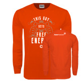 Orange Long Sleeve T Shirt-This Guy Gets Free Energy