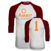 White/Maroon Raglan Baseball T Shirt-