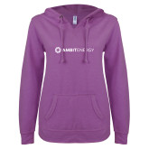 ENZA Ladies Berry V Notch Raw Edge Fleece Hoodie-Ambit Energy