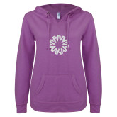ENZA Ladies Berry V Notch Raw Edge Fleece Hoodie-Spark White Soft Glitter