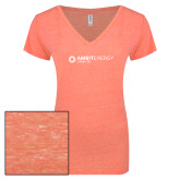 ENZA Ladies Coral Melange V Neck Tee-Ambit Energy Japan