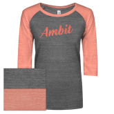 ENZA Ladies Dark Heather/Coral Vintage Triblend Baseball Tee-Ambit Script