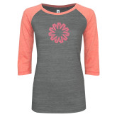 ENZA Ladies Dark Heather/Coral Vintage Baseball Tee-Spark Coral Soft Glitter