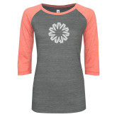 ENZA Ladies Dark Heather/Coral Vintage Baseball Tee-Spark White Soft Glitter